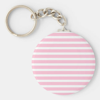 Soft Pink and White Stripes Keychain