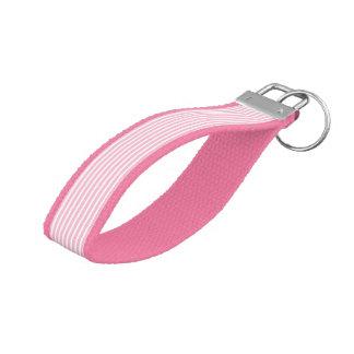 Soft Pink and White Stripes Wrist Keychain