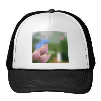 Soft pink bouquet of tulips on blurred mesh hats