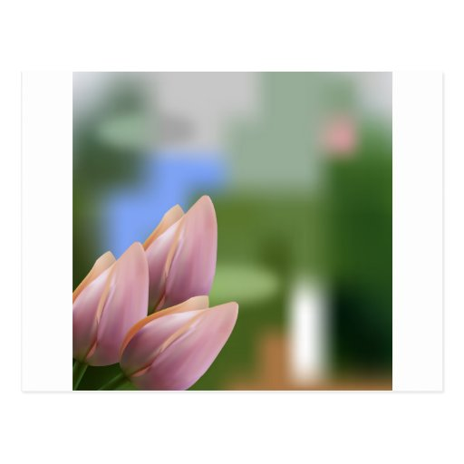 Soft pink bouquet of tulips on blurred postcard