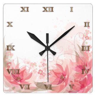 Soft Pink & Brass Flowers - Clock - 1