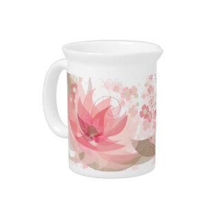 Soft Pink & Brass Flowers - Pitcher - 1