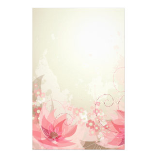Soft Pink & Brass Flowers - Stationary - 4 Stationery