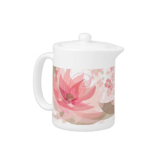 Soft Pink & Brass Flowers - Tea Pot - 1