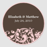 Soft Pink & Brown Swirl Wedding Favor Label Sticker