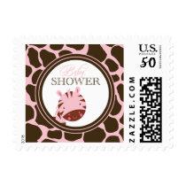 Soft pink   brown zebra girls baby shower stamps