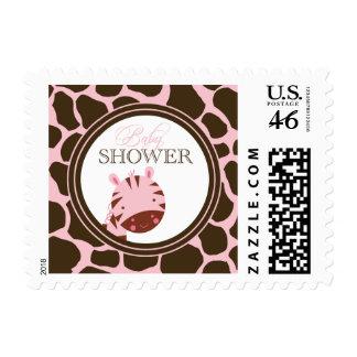 Soft pink + brown zebra girls baby shower stamps