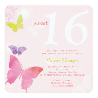 Soft Pink Butterfly Themed Sweet 16 Birthday Party Card