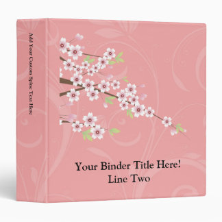 Soft Pink Cherry Blossom 3 Ring Binder