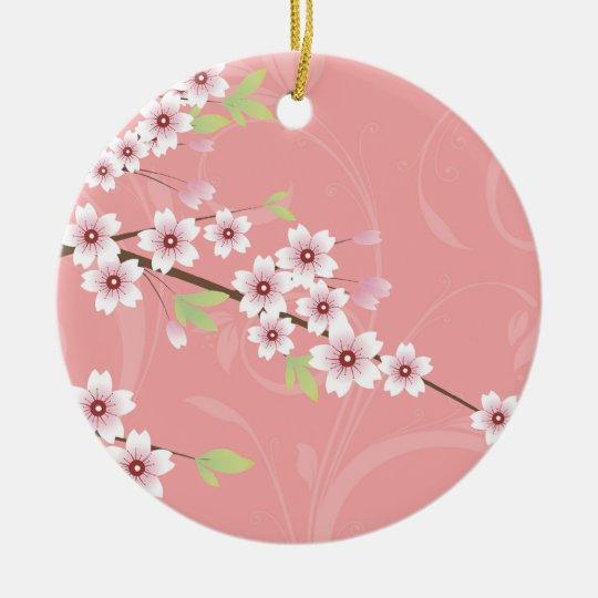 Soft Pink Cherry Blossom Ceramic Ornament