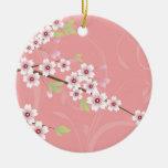 Soft Pink Cherry Blossom Christmas Tree Ornaments