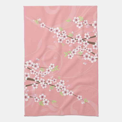 Soft Pink Cherry Blossom Hand Towels