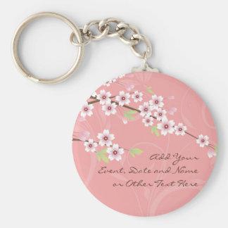 Soft Pink Cherry Blossom Basic Round Button Keychain