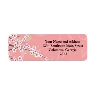 Soft Pink Cherry Blossom Label