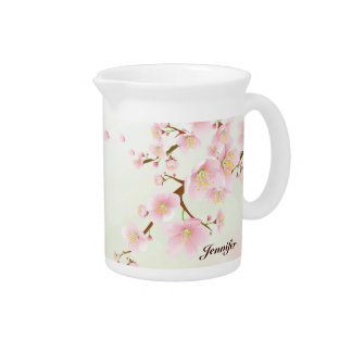 Soft Pink Cherry Blossom Nature Monogram Pitcher