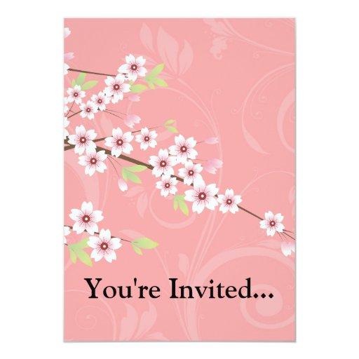 Soft Pink Cherry Blossom Personalized Invitation