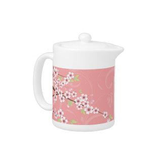 Soft Pink Cherry Blossom Teapot