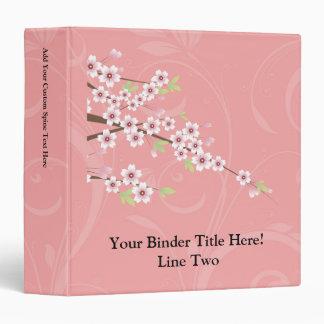 Soft Pink Cherry Blossom Vinyl Binder