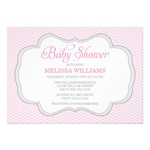 soft pink chevron gray frame baby shower 5 x 7 invitation card