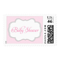 Soft Pink Chevron Gray Frame Baby Shower Postage Stamps