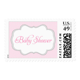 Soft Pink Chevron Gray Frame Baby Shower Postage Stamp
