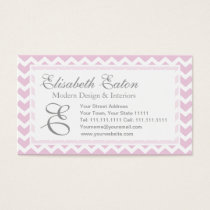 Soft Pink Chevron Retro Style Monogram Pattern Business Card