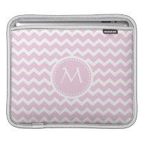 Soft Pink Chevron Retro Style Monogram Pattern iPad Sleeve