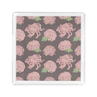 Soft Pink Chrysantemum Seamless Pattern Acrylic Tray