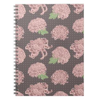 Soft Pink Chrysantemum Seamless Pattern Notebook