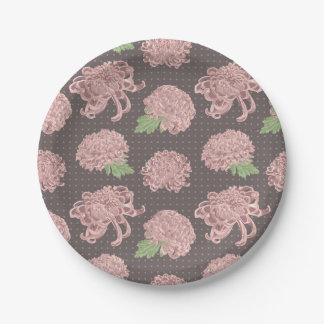 Soft Pink Chrysantemum Seamless Pattern Paper Plate
