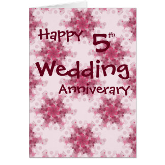 Soft pink circles 5th wedding anniversary cards