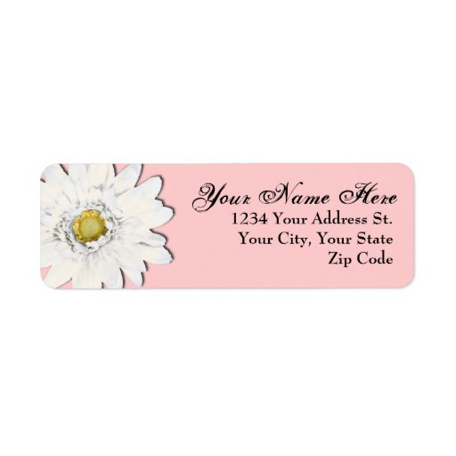 Soft Pink Daisy Return Address Labels