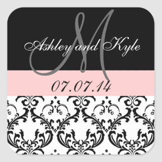 Soft Pink Damask Monogram Save the Date Stickers