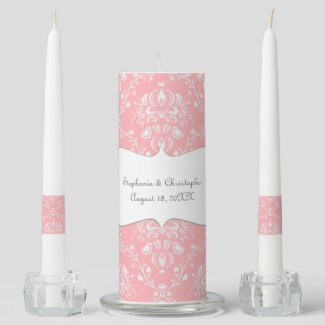 Soft Pink Damask Wedding Unity Candle Set