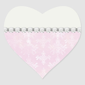 soft pink distressed damask pattern heart sticker
