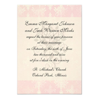 soft pink distressed damask pattern 4.5x6.25 paper invitation card