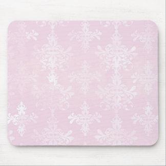 soft pink distressed damask pattern mouse pad