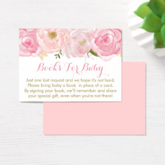 Soft Pink Floral Baby Shower Book Request Cards