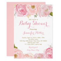 Soft Pink Floral Baby Shower Card