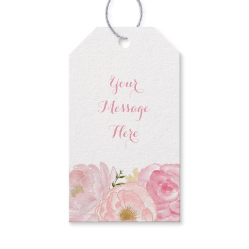 Soft Pink Floral Baby Shower Gift Tags