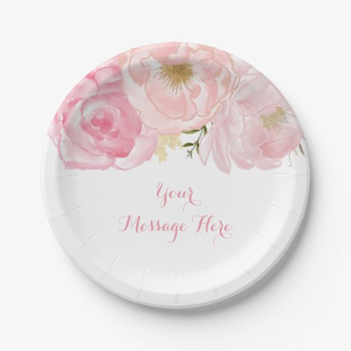 Soft Pink Floral Baby Shower Paper Plate