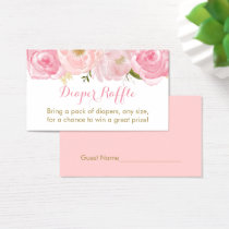 Soft Pink Floral Diaper Raffle Tickets