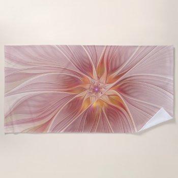 Soft Pink Floral Dream Abstract Modern Flower Beach Towel