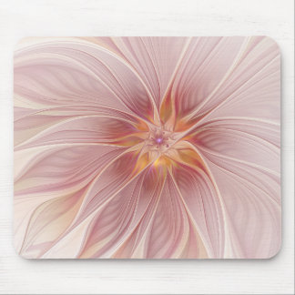 Soft Pink Floral Dream Abstract Modern Flower Mouse Pad