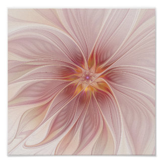 Soft Pink Floral Dream Abstract Modern Flower Poster