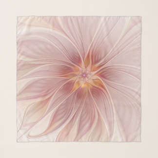 Soft Pink Floral Dream Abstract Modern Flower Scarf