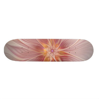 Soft Pink Floral Dream Abstract Modern Flower Skateboard Deck