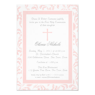Soft Pink Floral Paisley First Communion 5x7 Paper Invitation Card