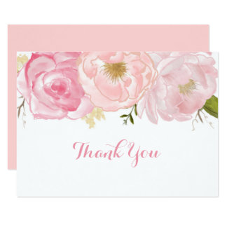 Soft Pink Floral Thank You Card