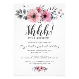 Soft Pink Floral Watercolor Shhh Surprise Birthday Invitation